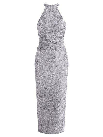 Tie Waist Ribbed Criss Cross Slit Slinky Dress - Gray S