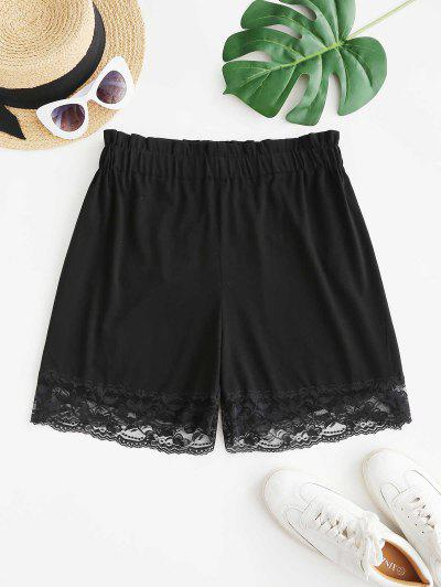 Lace Hem Pull On High Waisted Shorts - Black M