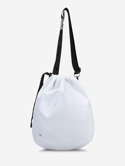 Side Release Buckle Drawstring Casual Cinch Bag - White