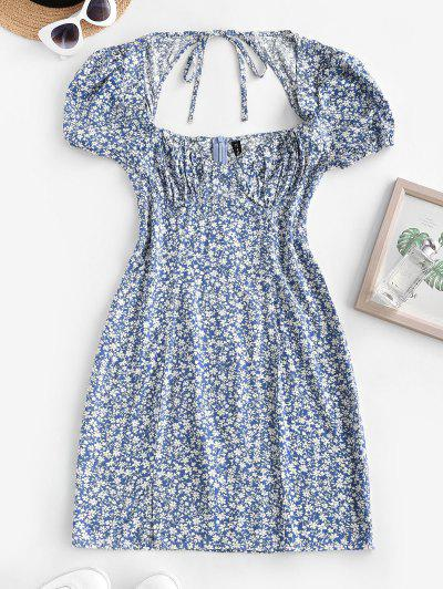 Ditsy Floral Tie Back Puff Sleeve Milkmaid Dress - Light Blue S