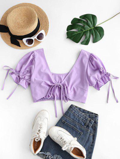 Plunge Tied Ruffle Cuff Crop Blouse - Light Purple M