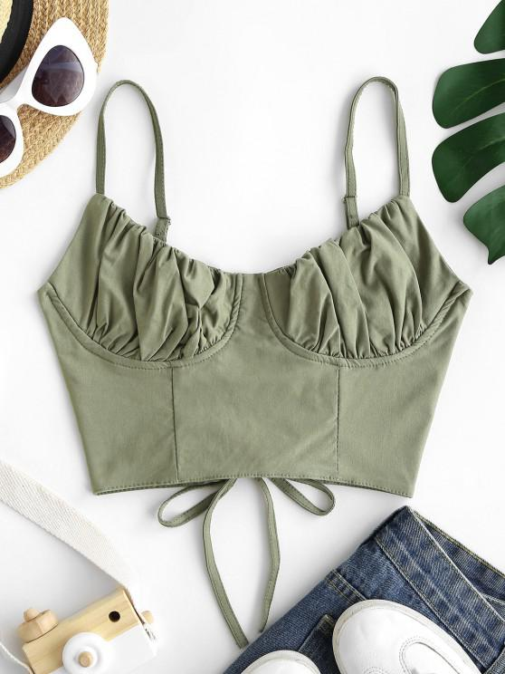 Ruched Lace-up Bustier Cami Top - أخضر S