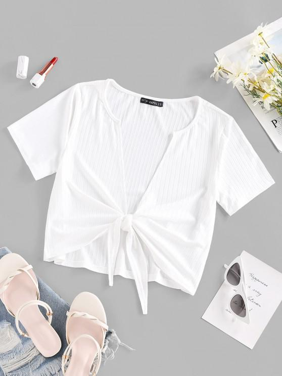 online Ribbed Tie Front T Shirt - WHITE L