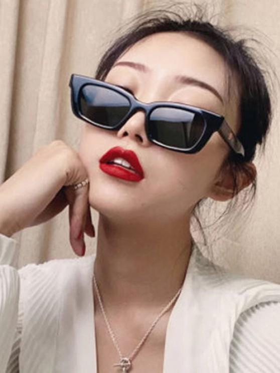 Retro Rectangle Frame Wide Arm Sunglasses - أسود