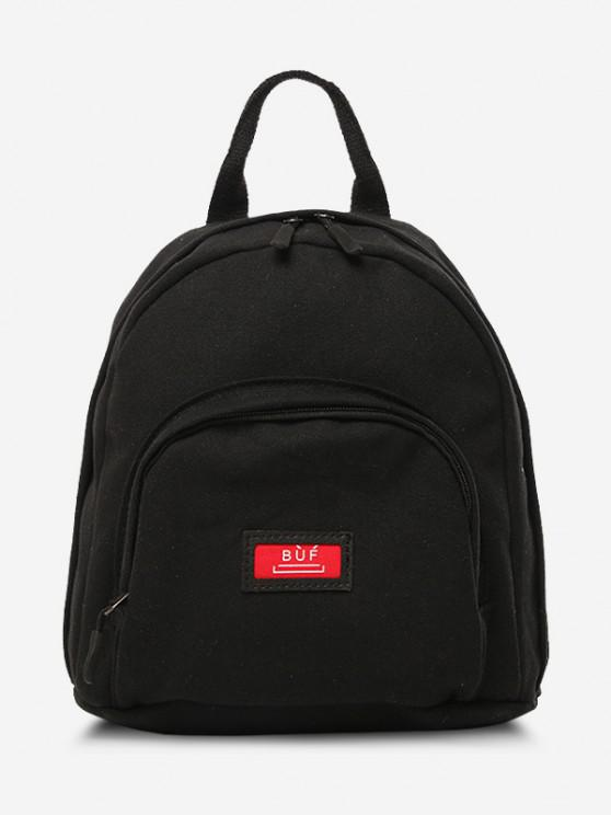 trendy Solid Multi Compartment Canvas Casual Backpack - BLACK