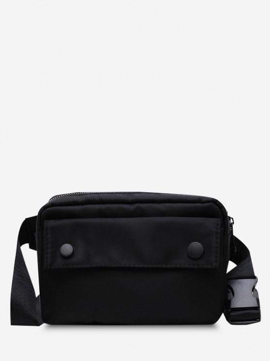 womens Minimalistic Waterproof Side-Release Buckle Casual Bum Bag - BLACK