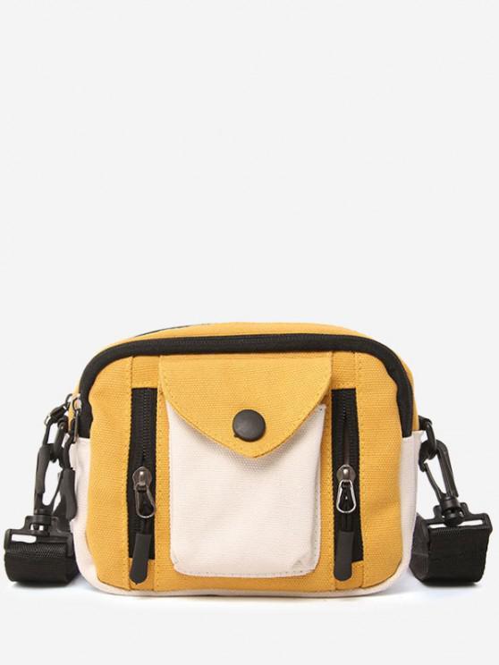 Canvas Pocket Versatile Casual Crossbody Bag - صن اصفر