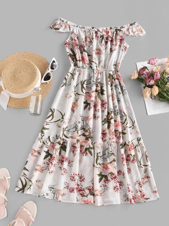 trendy ZAFUL Frilled Flower Print Off Shoulder Midi Dress - WHITE L