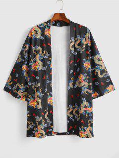 Cardigan Kimono Dragon Imprimé Ouvert En Avant - Noir L
