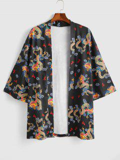 Open Front Dragon Print Kimono Cardigan - Black L