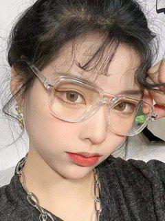 Square Frame Anti Blue Light Glasses - Light Gray