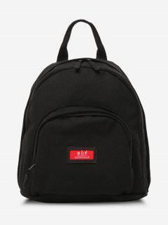 Solid Multi Compartment Canvas Casual Backpack - Black