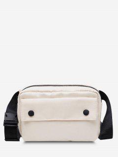Minimalistic Waterproof Side-Release Buckle Casual Bum Bag - White