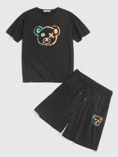 Cartoon Bear Figure Print T-shirt And Shorts Two Piece Set - Black M
