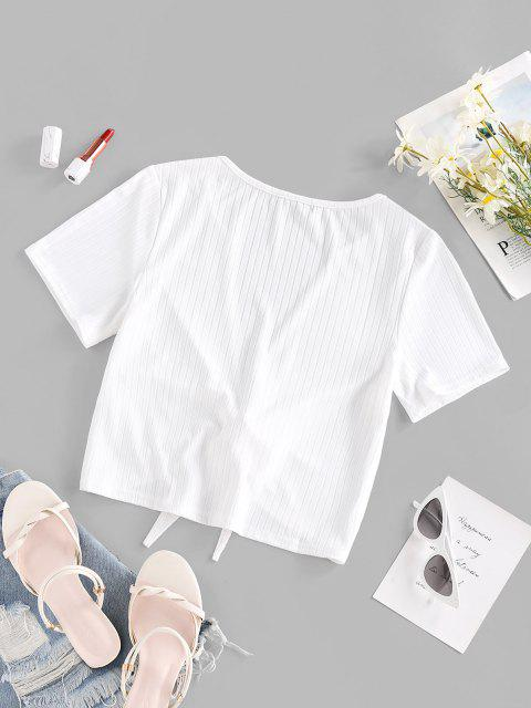 chic Ribbed Tie Front T Shirt - WHITE M Mobile