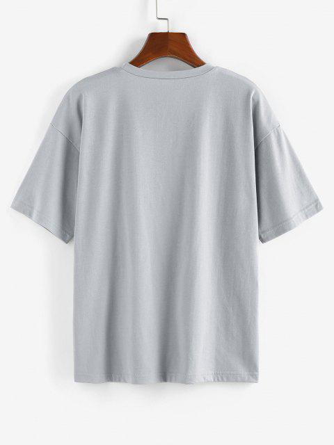 fashion ZAFUL Graffiti Printed Drop Shoulder T Shirt - LIGHT GRAY XL Mobile