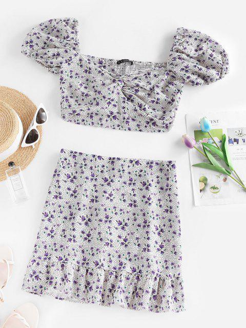 shops Polka Dot Flower Smocked Twisted Mermaid Skirt Set - WHITE XL Mobile