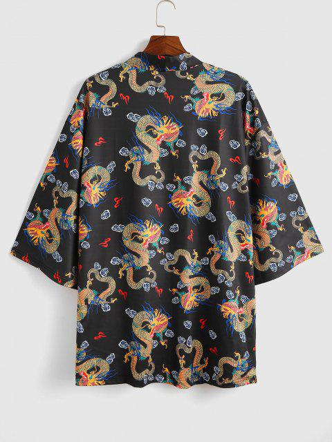new Open Front Dragon Print Kimono Cardigan - BLACK S Mobile