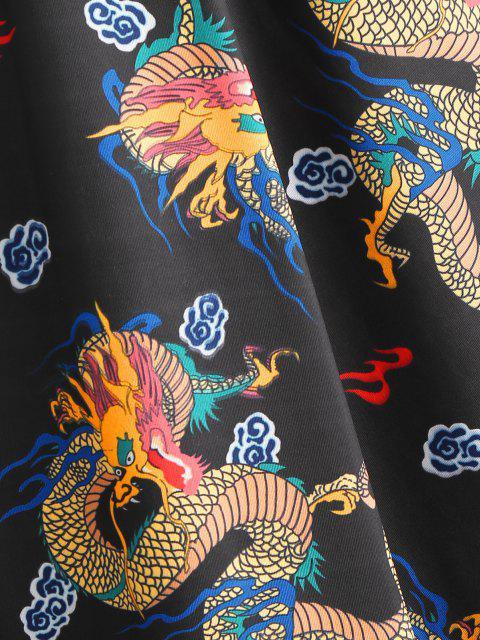 new Open Front Dragon Print Kimono Cardigan - BLACK S Mobile