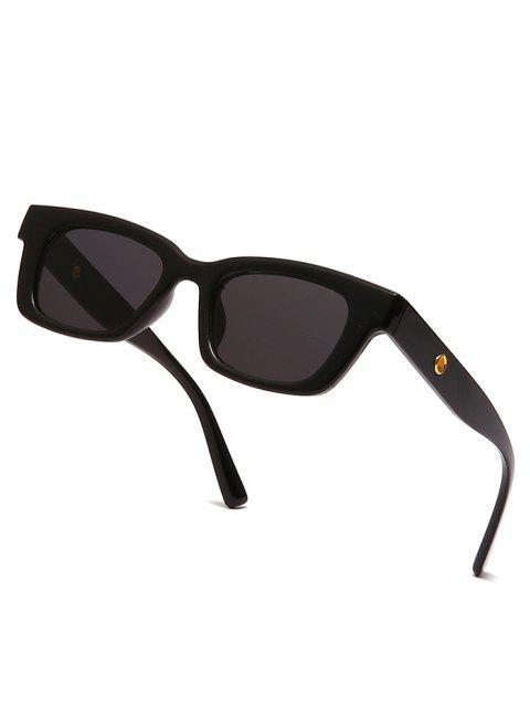 レトロな長方形フレームワイドフレームサングラス - ブラック  Mobile