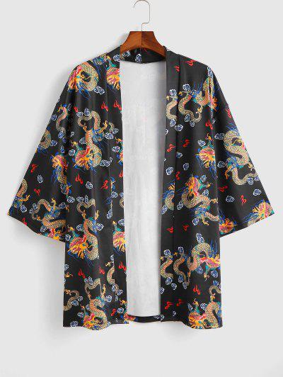 Open Front Dragon Print Kimono Cardigan - Black M