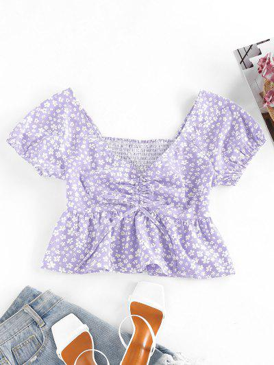 ZAFUL Ditsy Print Smocked Cinched Peplum Blouse - Light Purple S