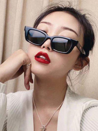 Retro Rectangle Frame Wide Arm Sunglasses - Black