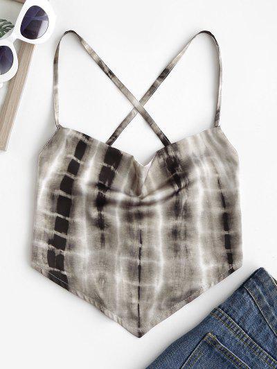 Cowl Tie Dye Satin Crisscross Lace-up Backless Bandana Top - Coffee M