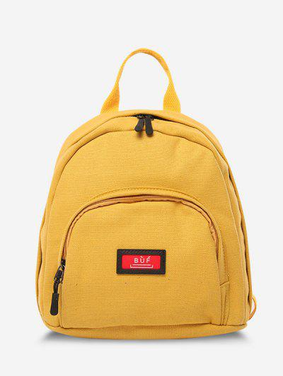 Solid Multi Compartment Canvas Casual Backpack - Sun Yellow