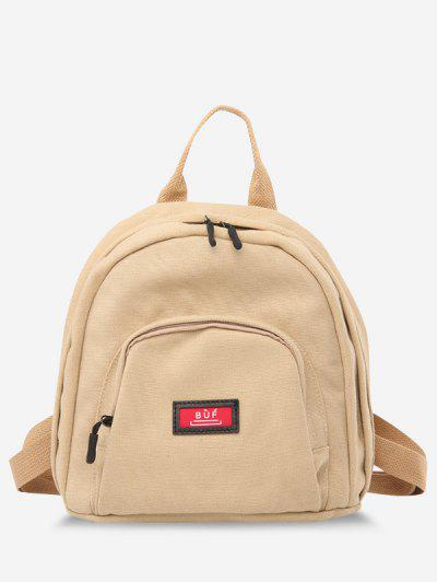 Solid Multi Compartment Canvas Casual Backpack - Light Khaki