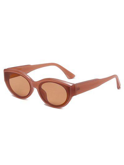 Retro Oval Frame Wide Temple Sunglasses - Brown Sugar