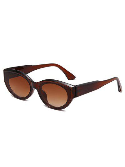 Retro Oval Frame Wide Temple Sunglasses - Deep Brown