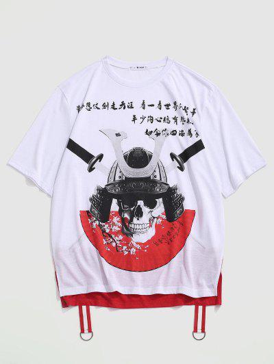 T-shirt Haut Bas Crâne Saignant Graphique Imprimé - Blanc 2xl