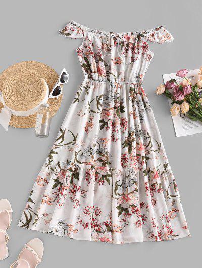 ZAFUL Robe Mi-Longue Fleur Imprimée à Epaule Dénudée à Volants - Blanc M