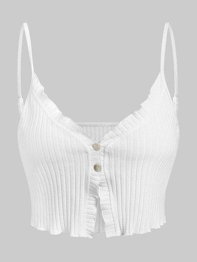 ZAFUL Camiseta Abotonada De Punto Acanalado - Blanco S