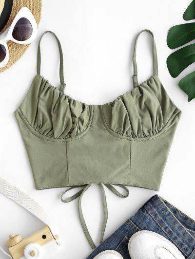 Ruched Lace-up Bustier Cami Top - Green M