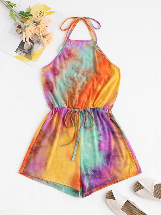 ladies Halter Tie Dye Romper - MULTI L
