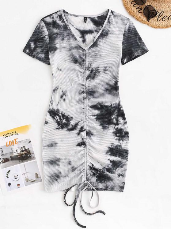 affordable Ribbed Tie Dye Cinched Ruched Tee Dress - BLACK L