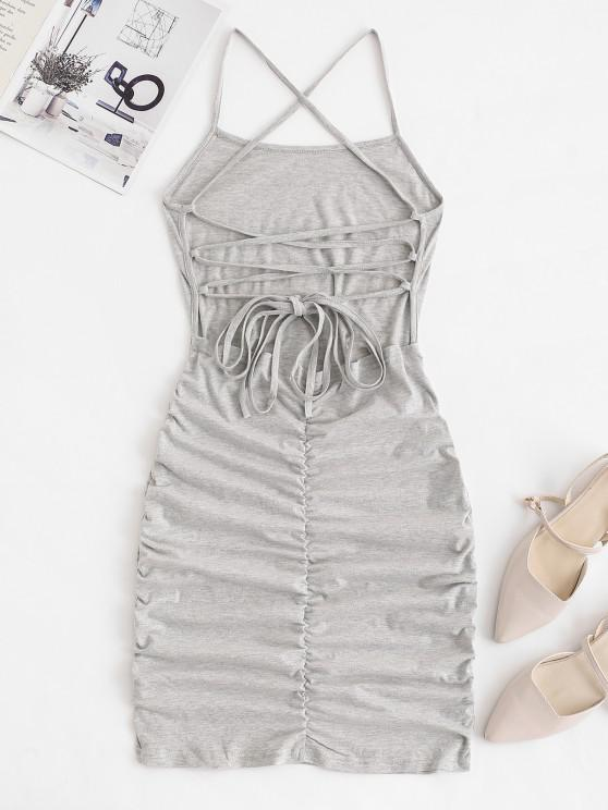 fashion Strappy Criss Cross Ruched Bodycon Dress - LIGHT GRAY L
