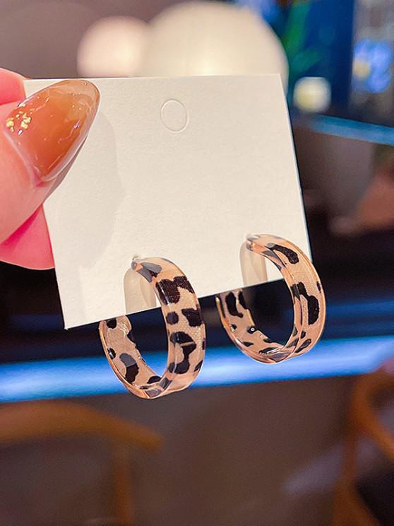 Leopard C Shape Silver Needle Earrings - ذهبي