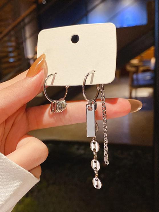 Chains Asymmetrical C Shape Earrings - فضة