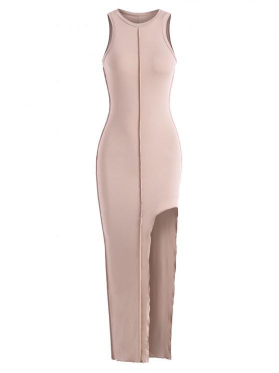 sale Topstitch Slit Racerback Bodycon Maxi Dress - LIGHT COFFEE S