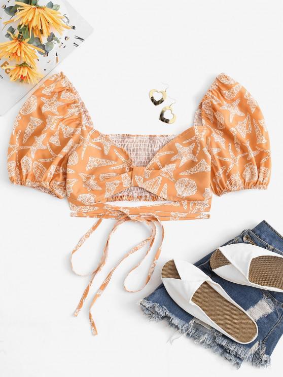Blusa Corta de Cuello Marina con Mangas Cortas - luz naranja S