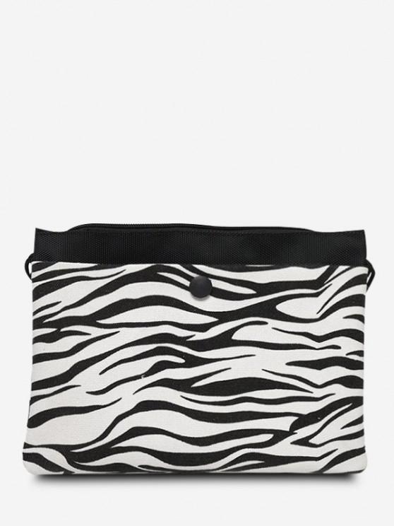 Monochrome Flat Canvas Casual Crossbody Bag - أسود