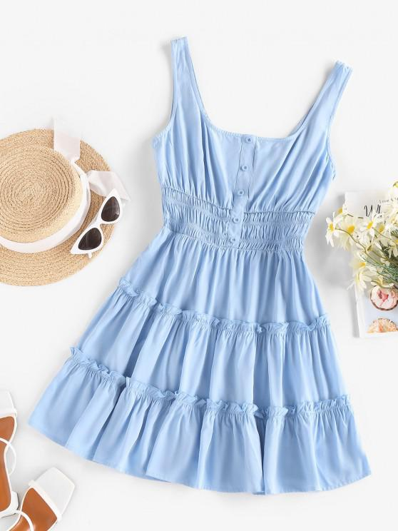 ZAFUL Vestido de Sol Fruncido con Cintura Alta - Azul claro S