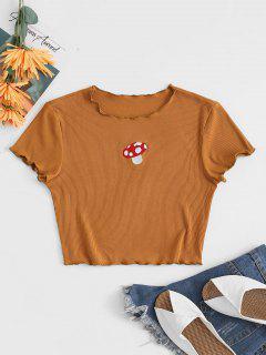 Kopfsalat Geflochtenes Pilz Besticktes Geripptes Baby T-Shirt - Kaffee S