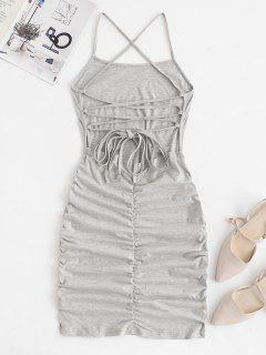 Strappy Criss Cross Ruched Bodycon Dress - Light Gray S