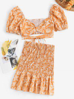 Marine Life Puff Sleeve Smocked Matching Skirt Set - Light Orange M
