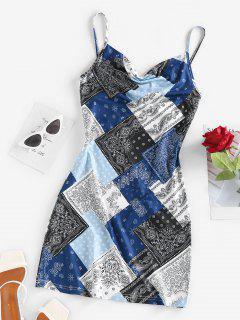 ZAFUL Patchwork Bandana Print Slip Dress - Blue S