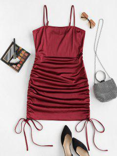 ZAFUL Plus Size Sheeny Cinched Ruched Slinky Dress - Deep Red 3xl